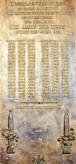 This plaque at Eastern State Penitentiary (U.S.) honors inmate-soldiers, but only by inmate number.